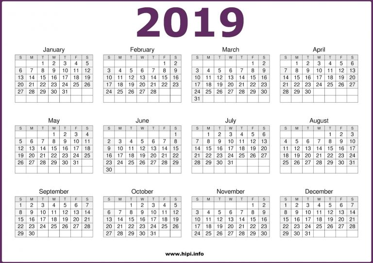 2019 12 Month in One Page Calendar PDF