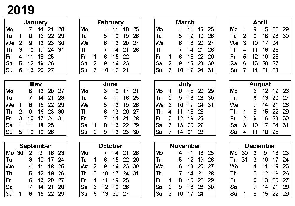 2019 Printable Calendar Templates, Free 2019 Printable Calendar Templates Blank in word pdf excel