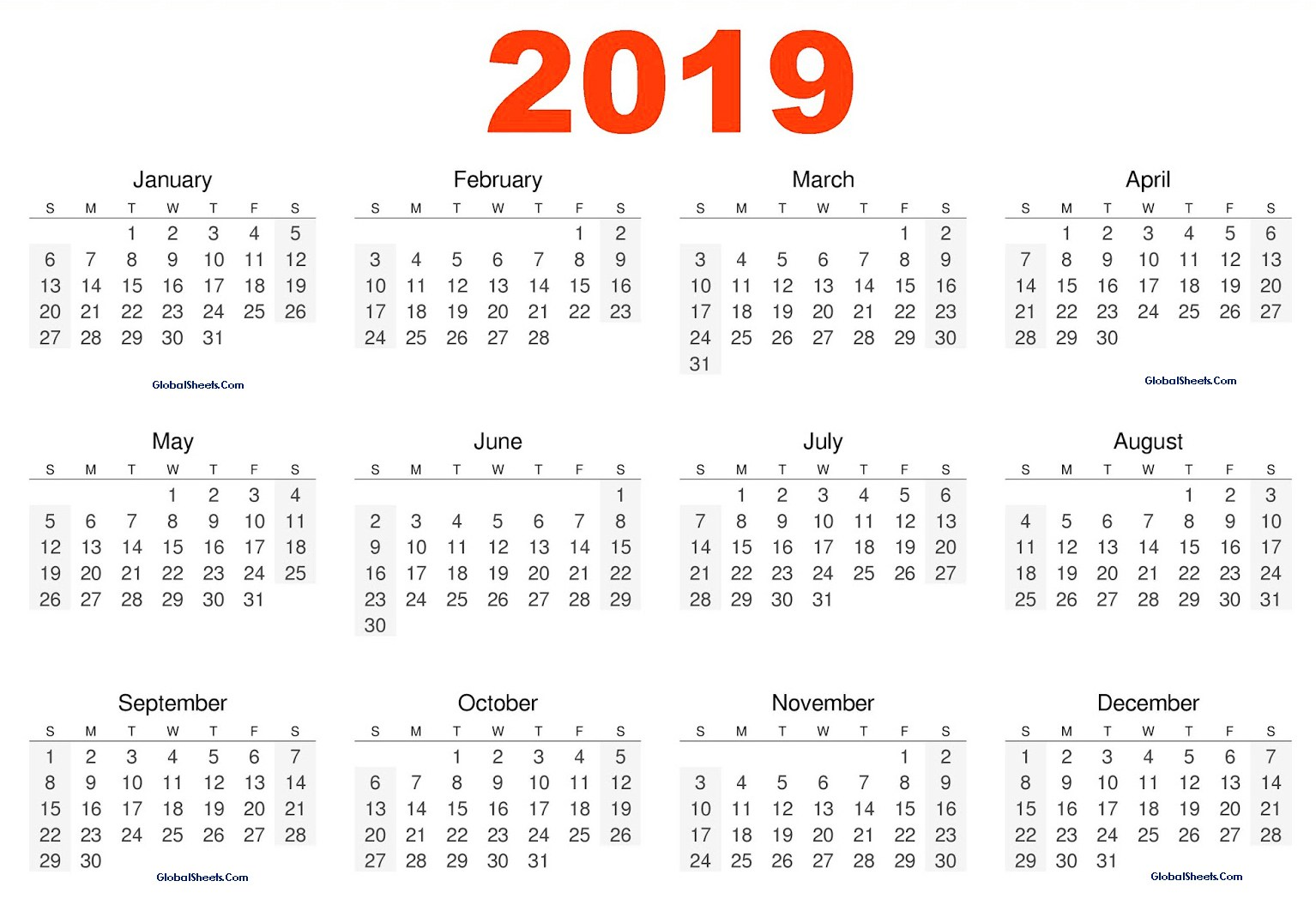 2019 Yearly Calendar Excel Printable. 2019 Yearly Calendar Free, 2019 Yearly Calendar Pritnable, 2019 Yearly Calendar in One Page