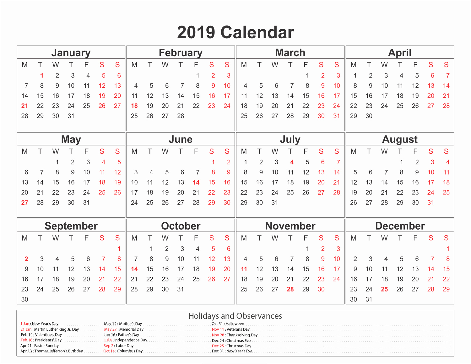 calendar 2019 printable with holidays free printable calendar 2019 templates 2019 printable