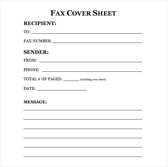 Fax Cover Sheet 2018
