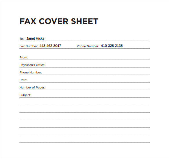 Fax Cover Sheet Free Sample Example Format