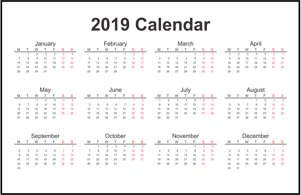 free blank yearly calendar 2019 template
