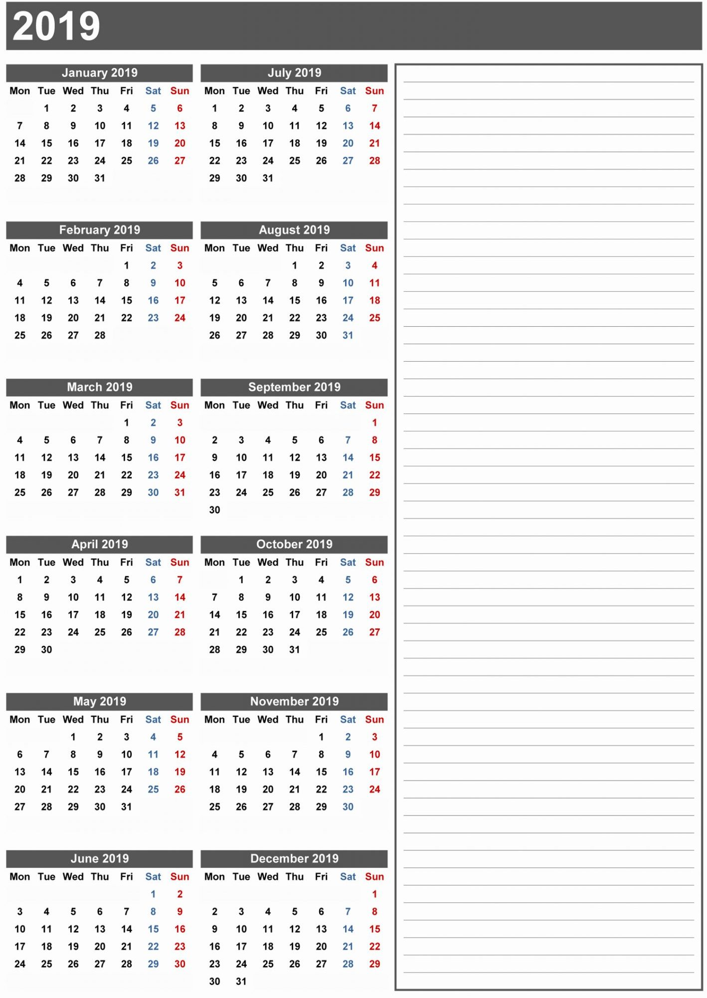 graphic regarding Monthly Printable Calendar known as Absolutely free Blank Printable Calendar 2019 with Vacations Template