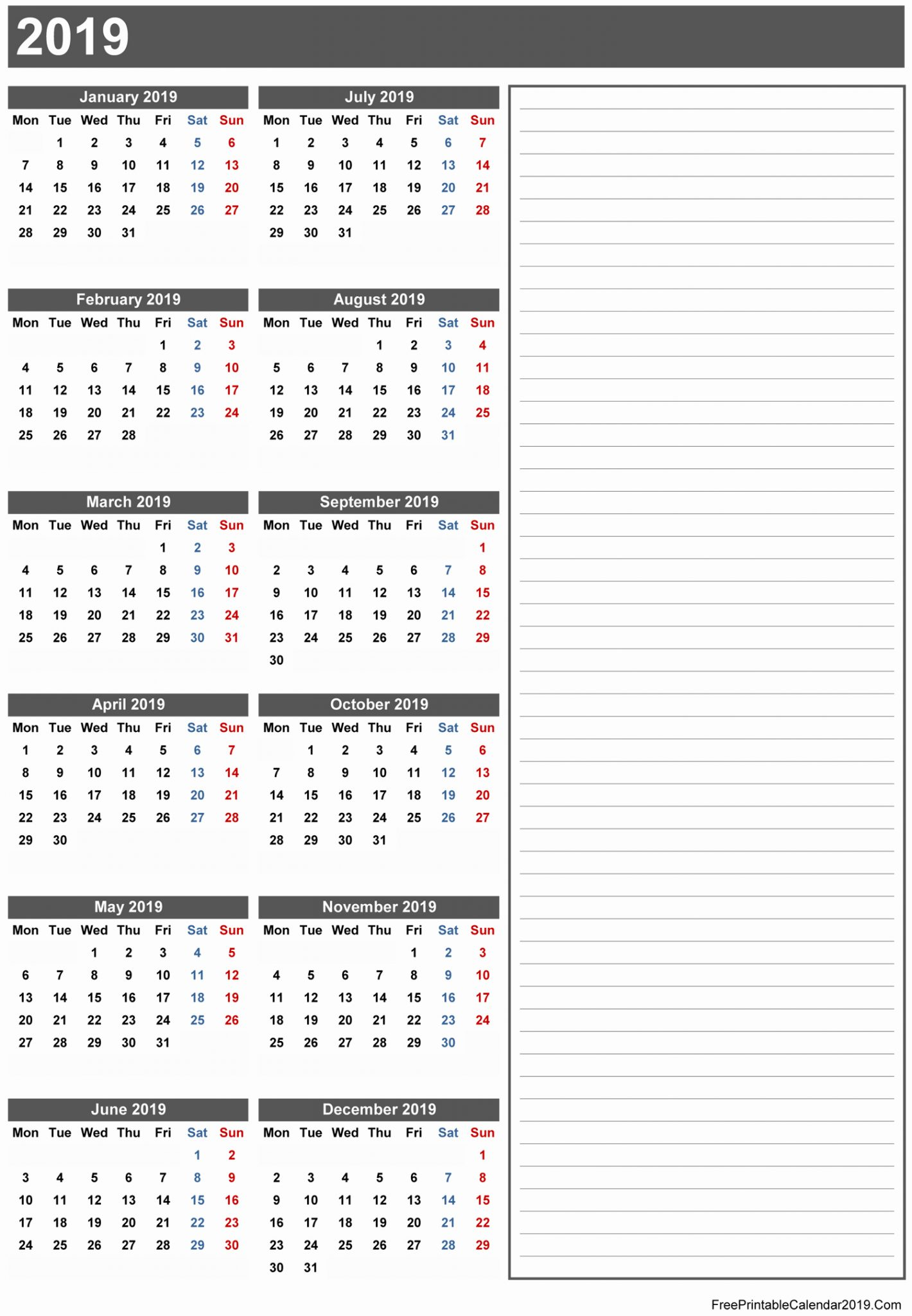 Free Printable Calendar 2019 In Word Excel Pdf, free printable calendar 2019 with holidays, 2019 yearly calendar printable plain