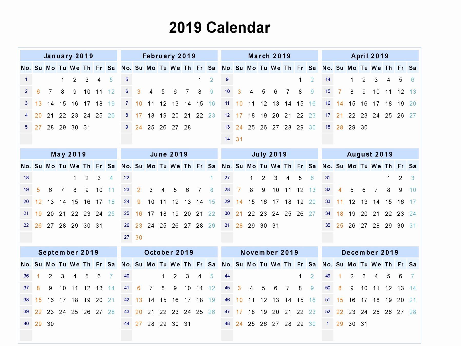 free printable calendar 2019 in word excel pdf