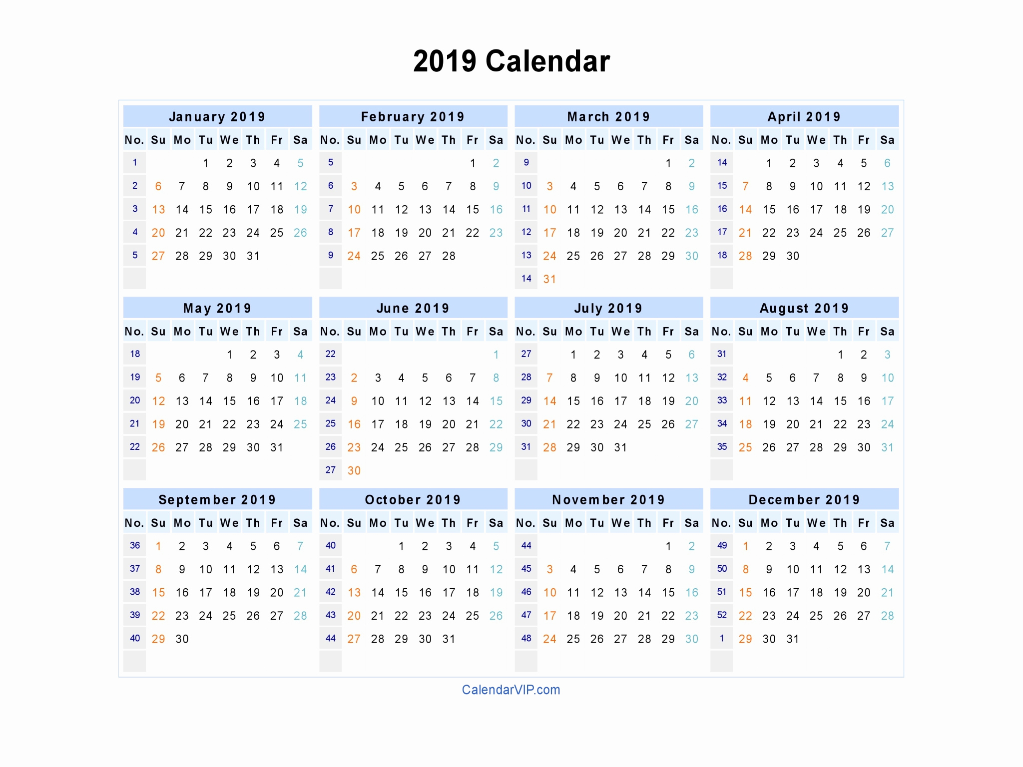 free printable calendar 2019 in word excel pdf