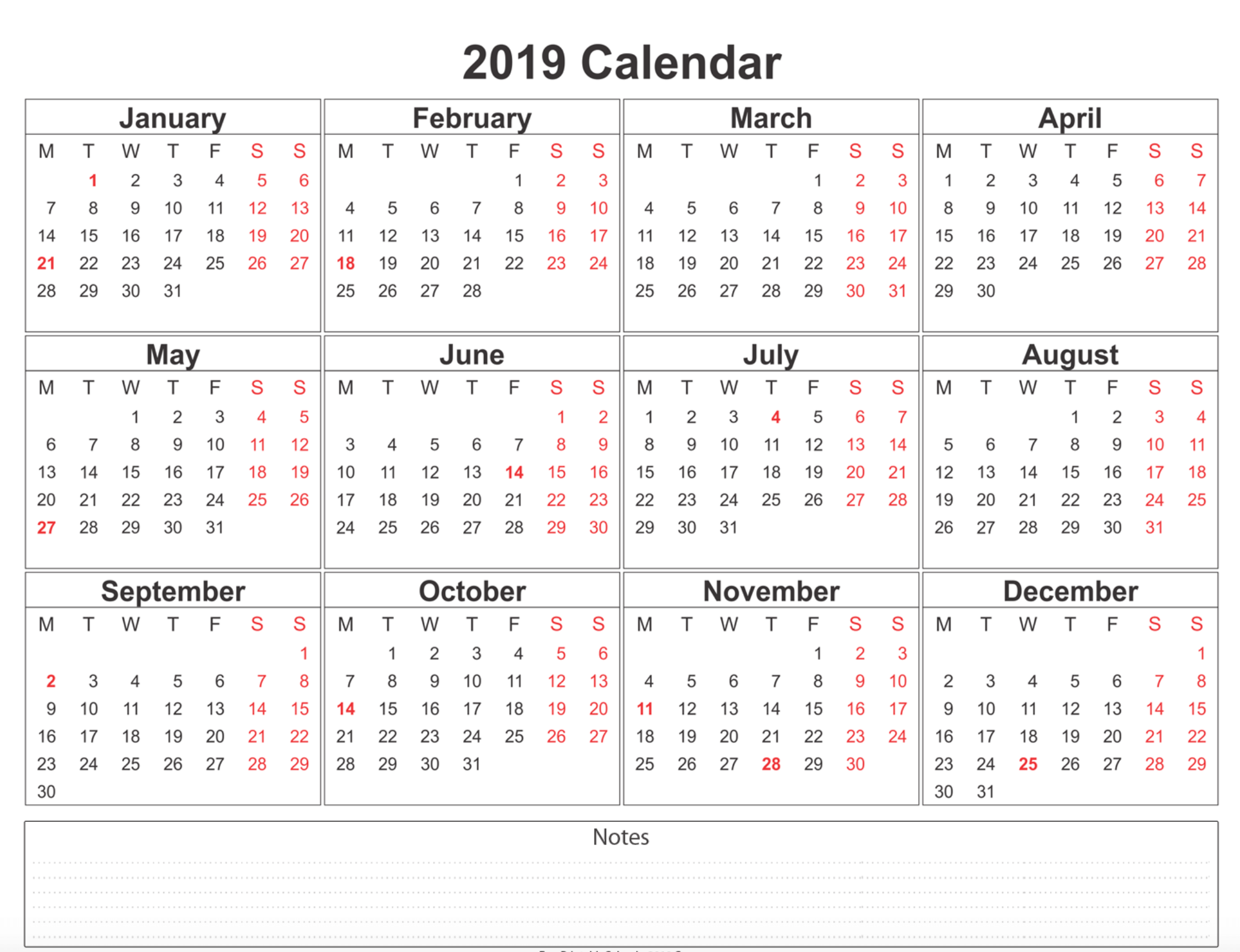 Free Printable Calendar 2019 With Holidays Blank 12 Month Calendar