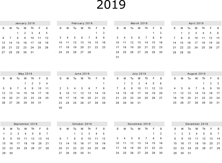 Free Yearly Blank Calendar 2019 Templates