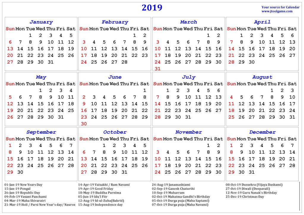 Indian Holidays Calendar 2019