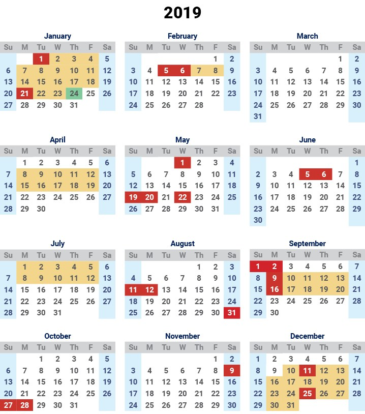 Malaysia School Holidays 2019 Calendar