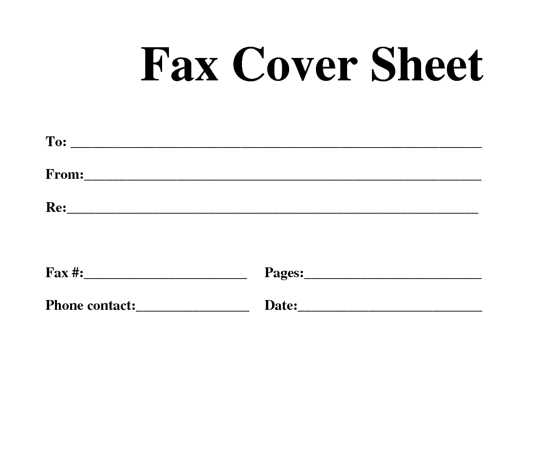 free fax cover sheet template printable download
