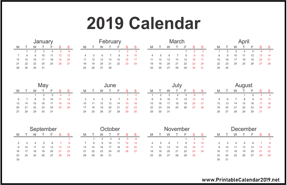 Best 10+ Download Free 2019 One Page Calendar Printable