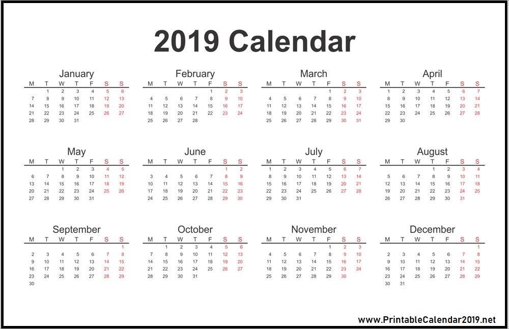 One Page 2019 Calendar Design