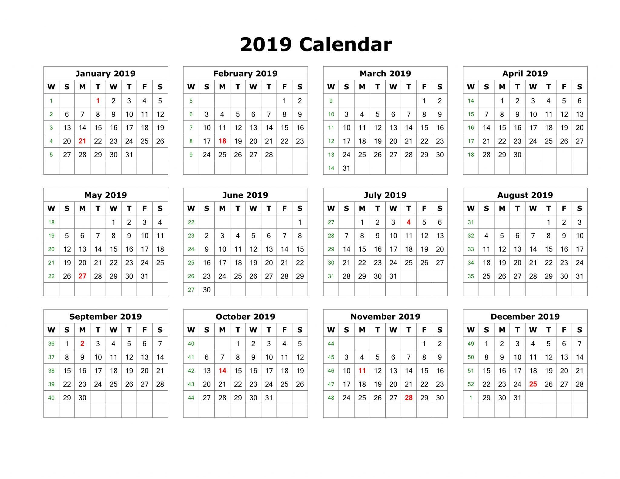 Printable 2019 Calendar Pdf