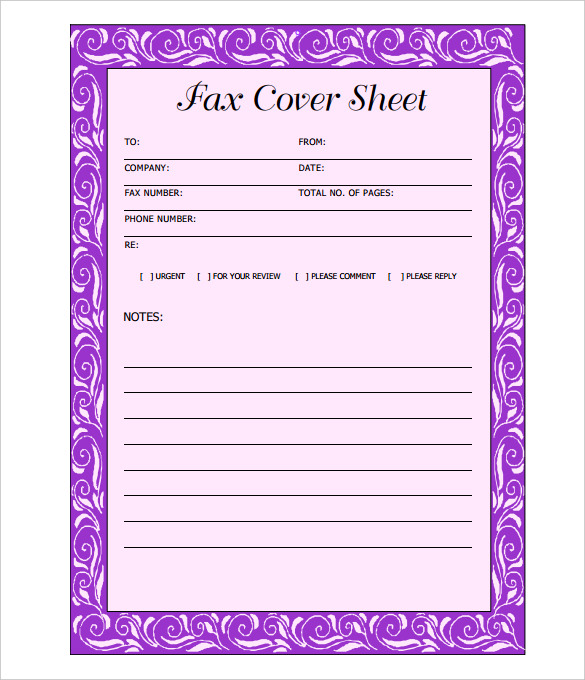 Printable Blank Fax Cover Sheet Template