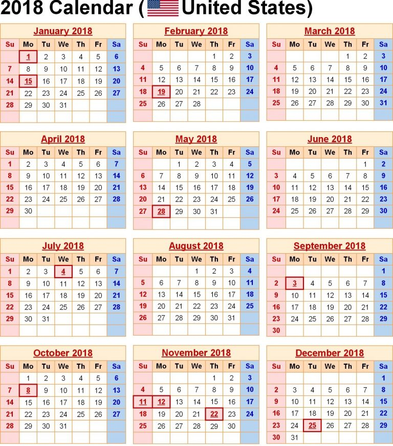 picture regarding Calendar Printable With Holidays called Down load 20+ Printable On a yearly basis Calendar 2019 with United states of america