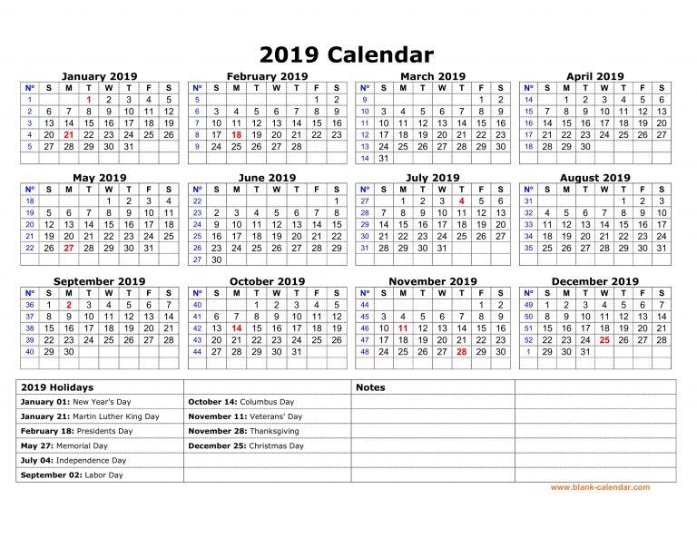 printable yearly 2019 calendar federal holidays