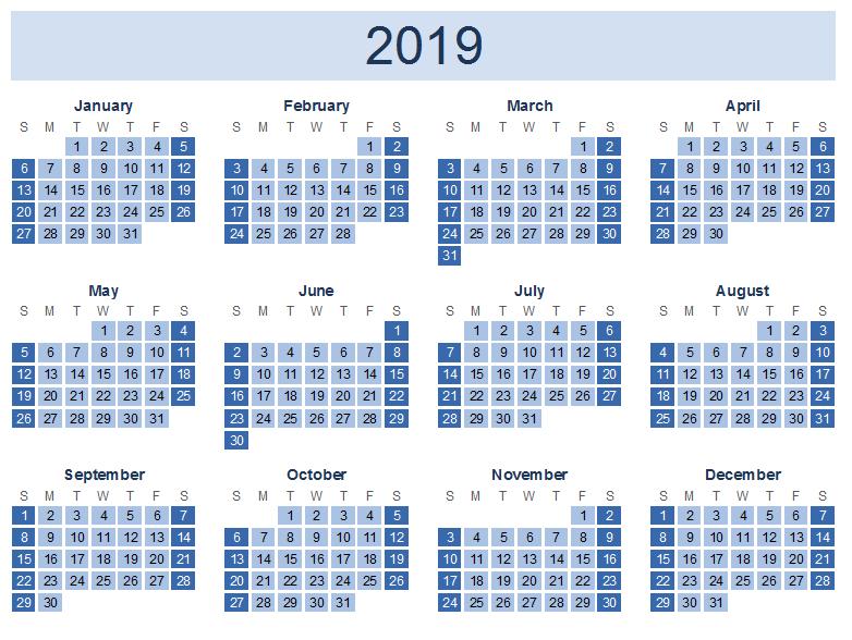 Printable Yearly Calendar 2019 Templates, 2019 Calendar in PDF, 2019 Calendar Printable in Word