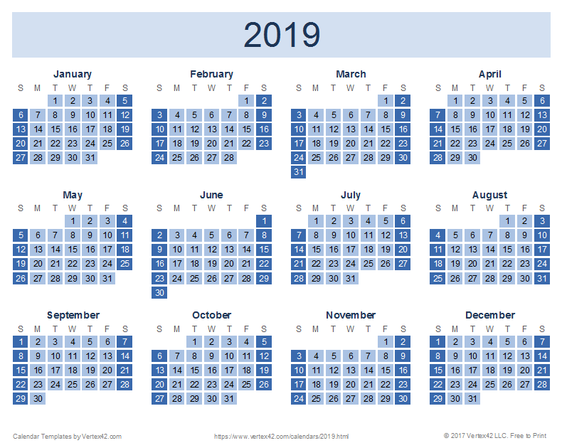 Printable Yearly Calendar 2019 Templates, 2019 Calendar in PDF, 2019 Calendar Printable in Word
