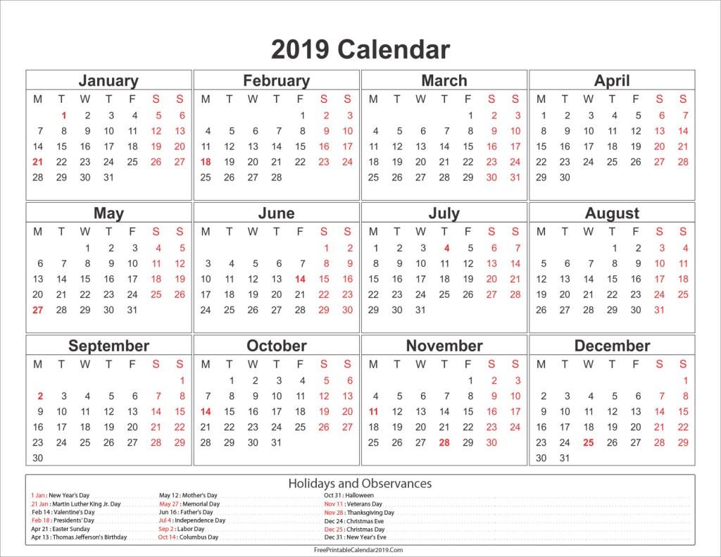 Singapore Holidays Calendar 2019