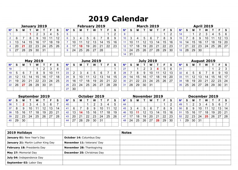 USA Holidays Calendar 2019