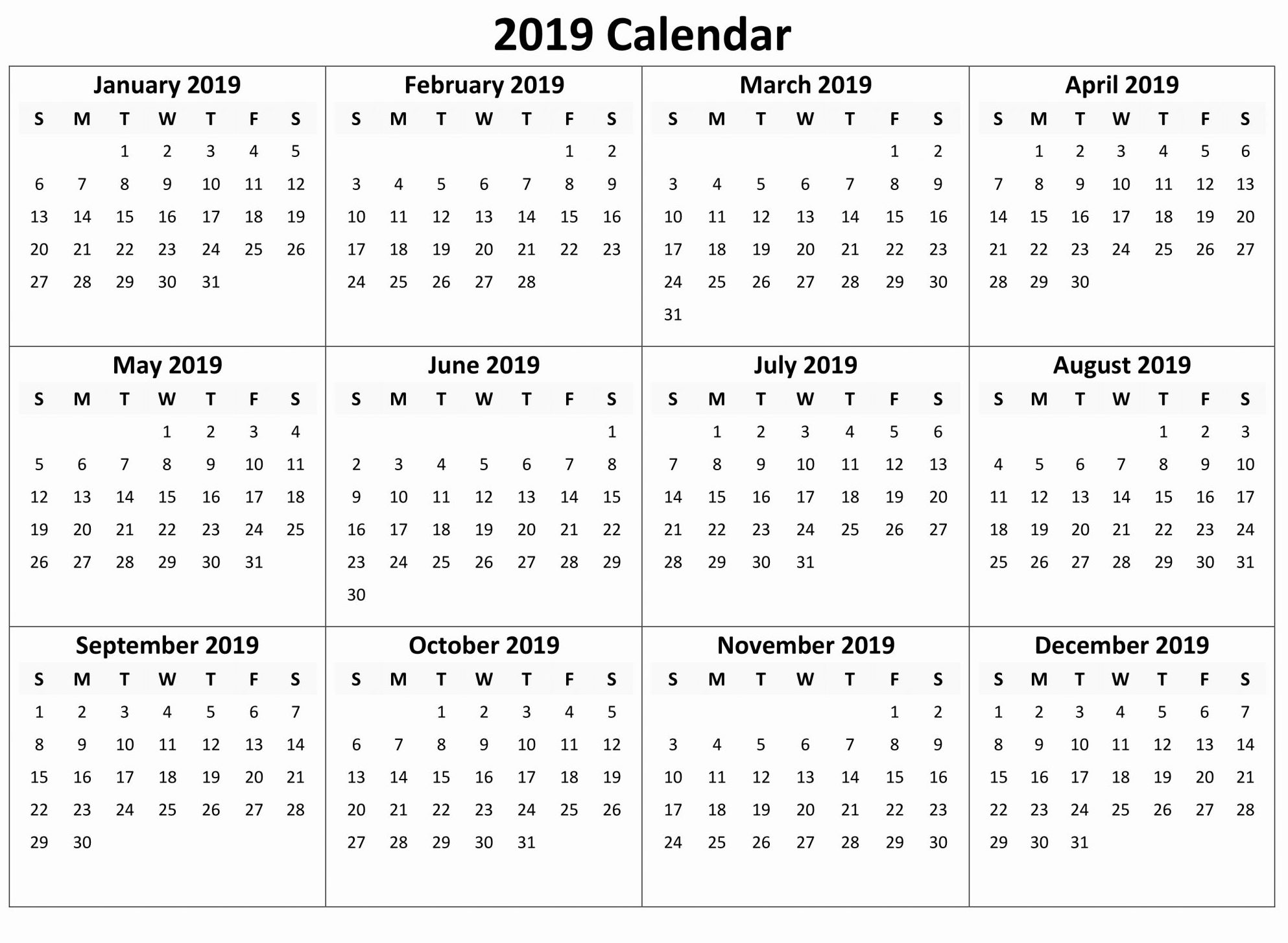 yearly calendar 2019 free download, Printable calendar 2019 Word PDF Excel