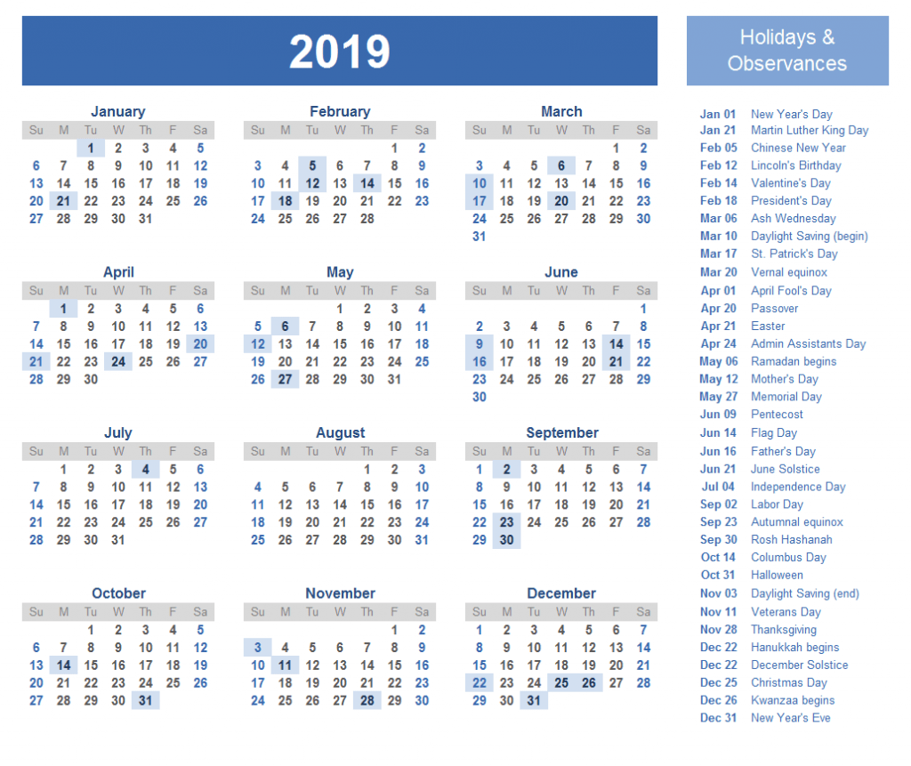 Yearly Calendar 2019 with Singapore Holidays