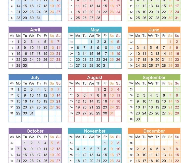 Yearly USA 2019 Calendar Blank Template