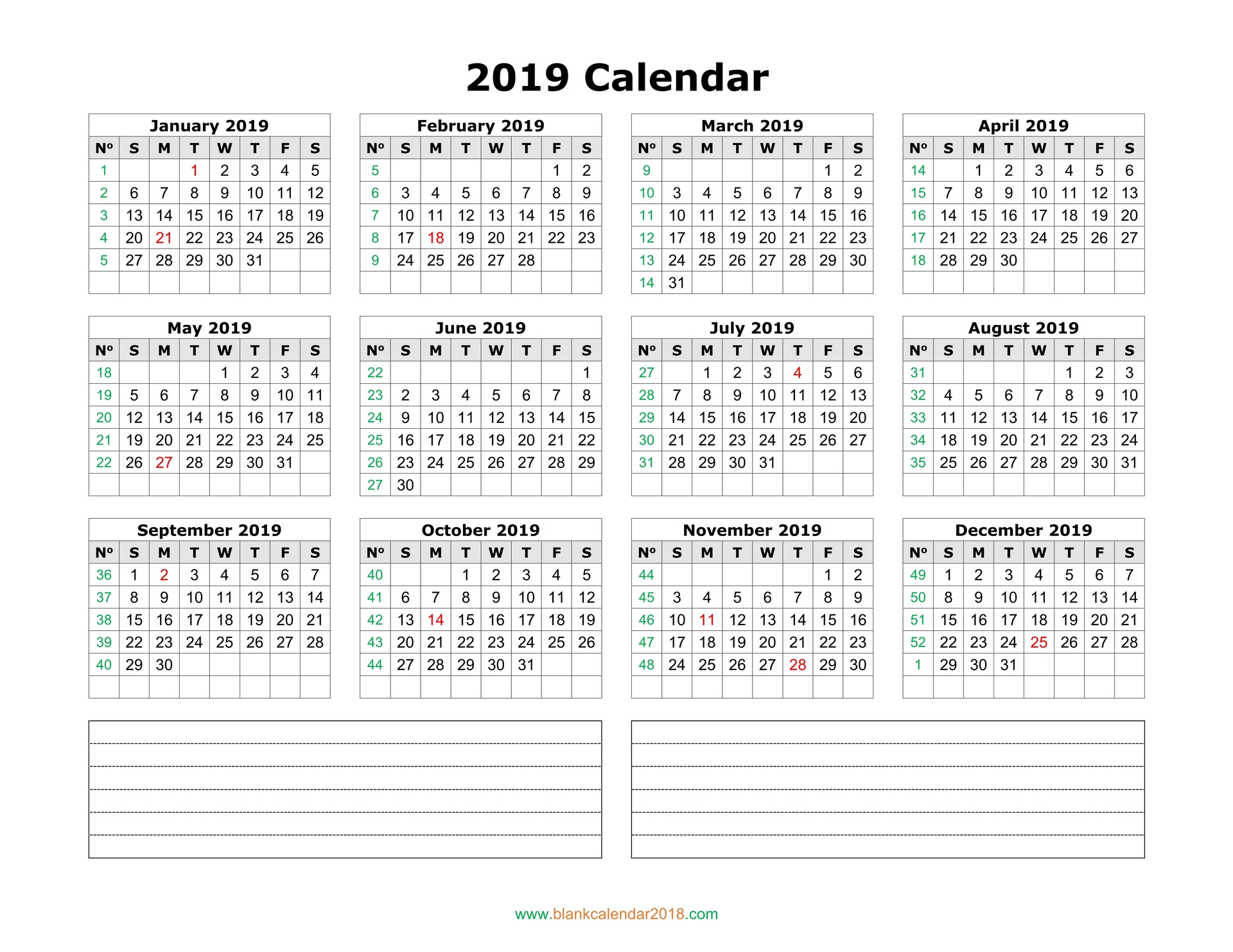 blank calendar 2019 with notes landscape, blank calendar 2019 printable month wise