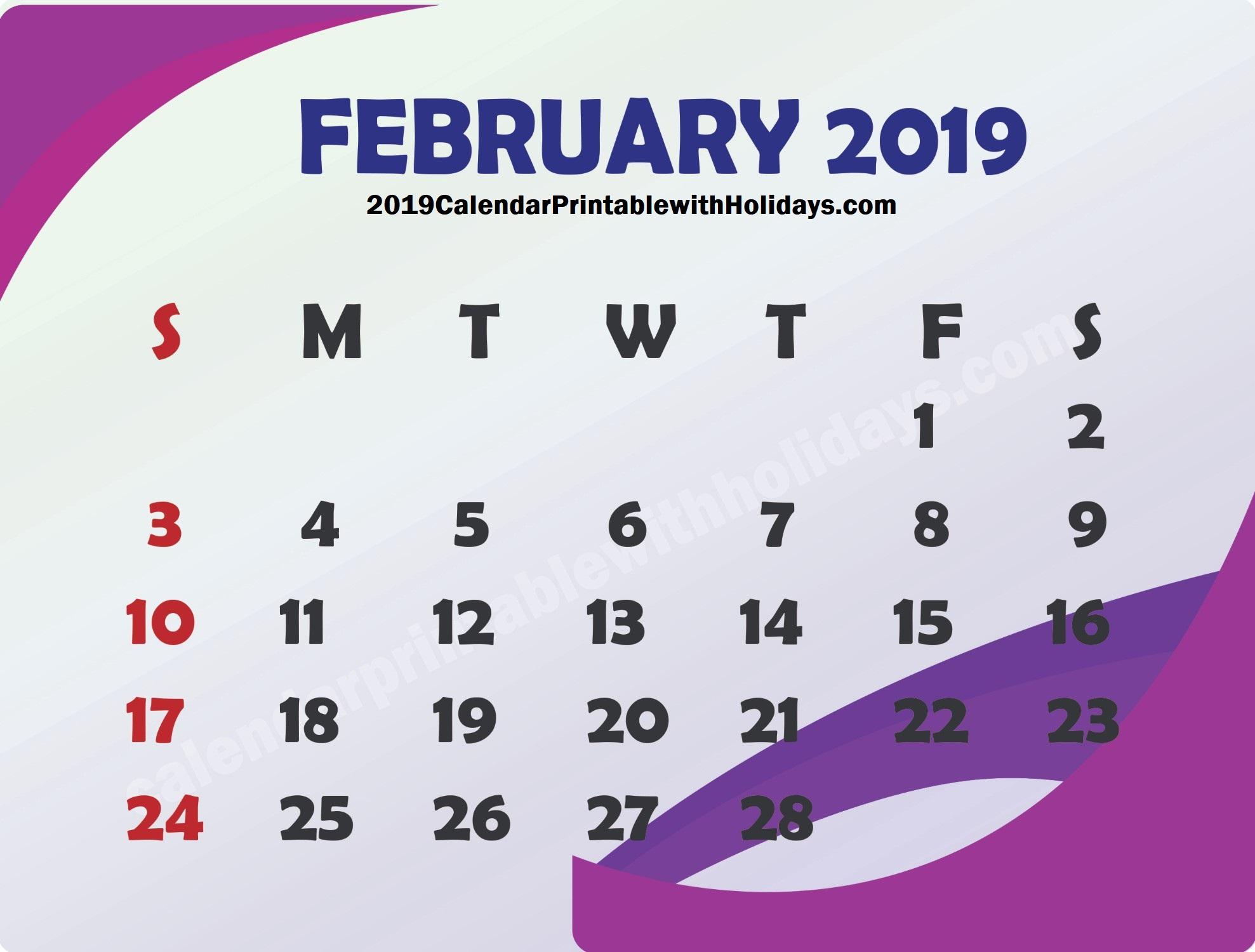 2019 February Calendar USA