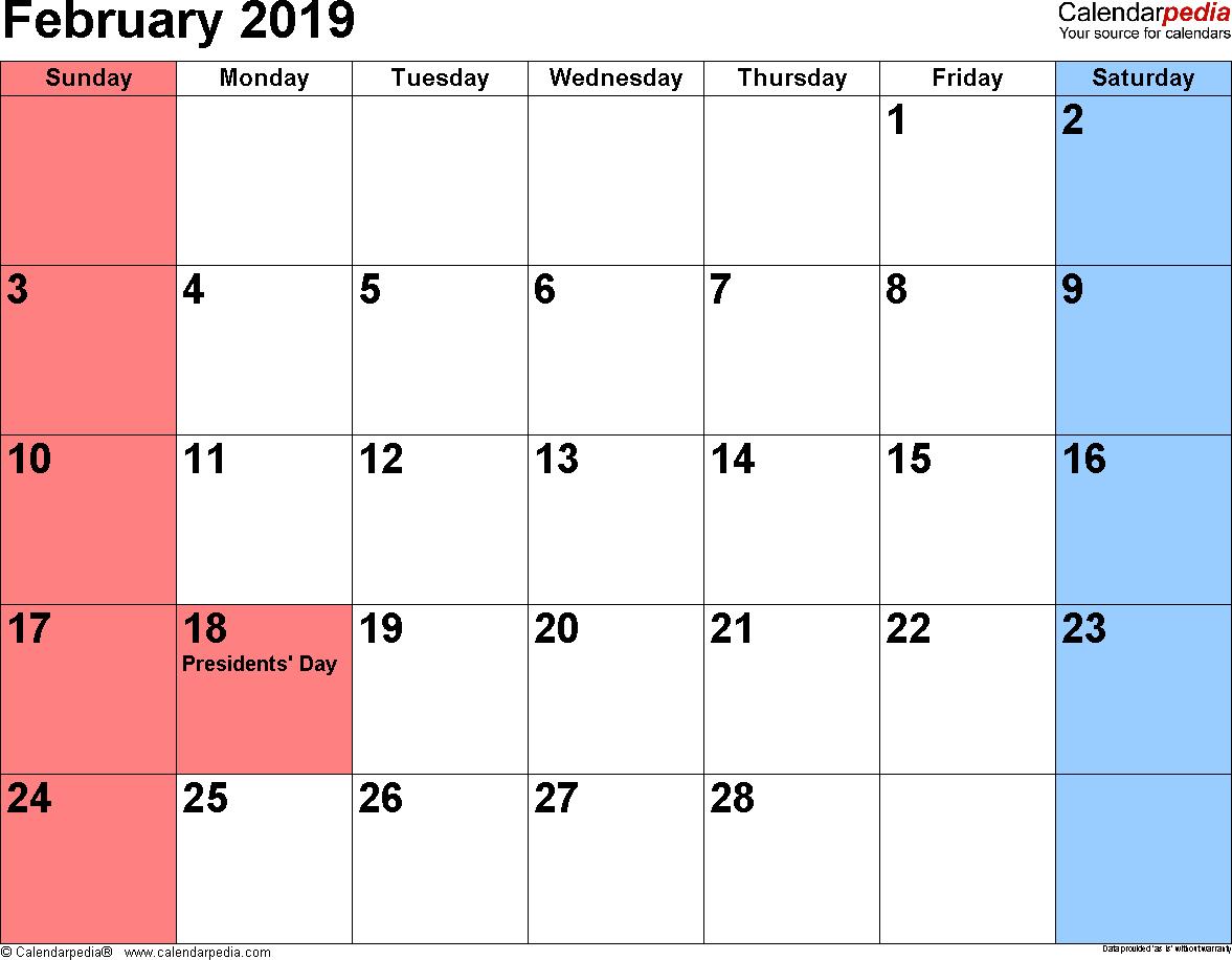 2019 February Month Calendar