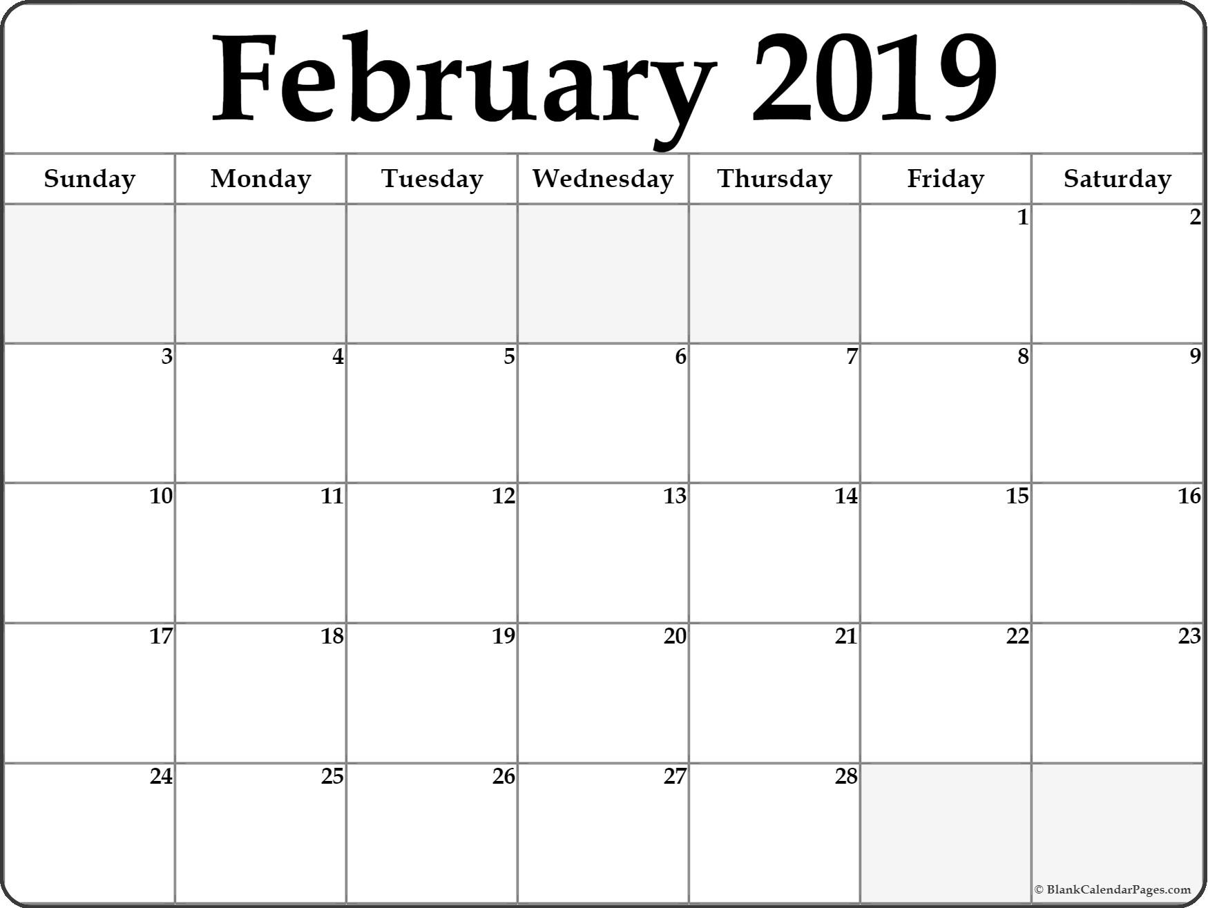 Blank February 2019 Editable Calendar