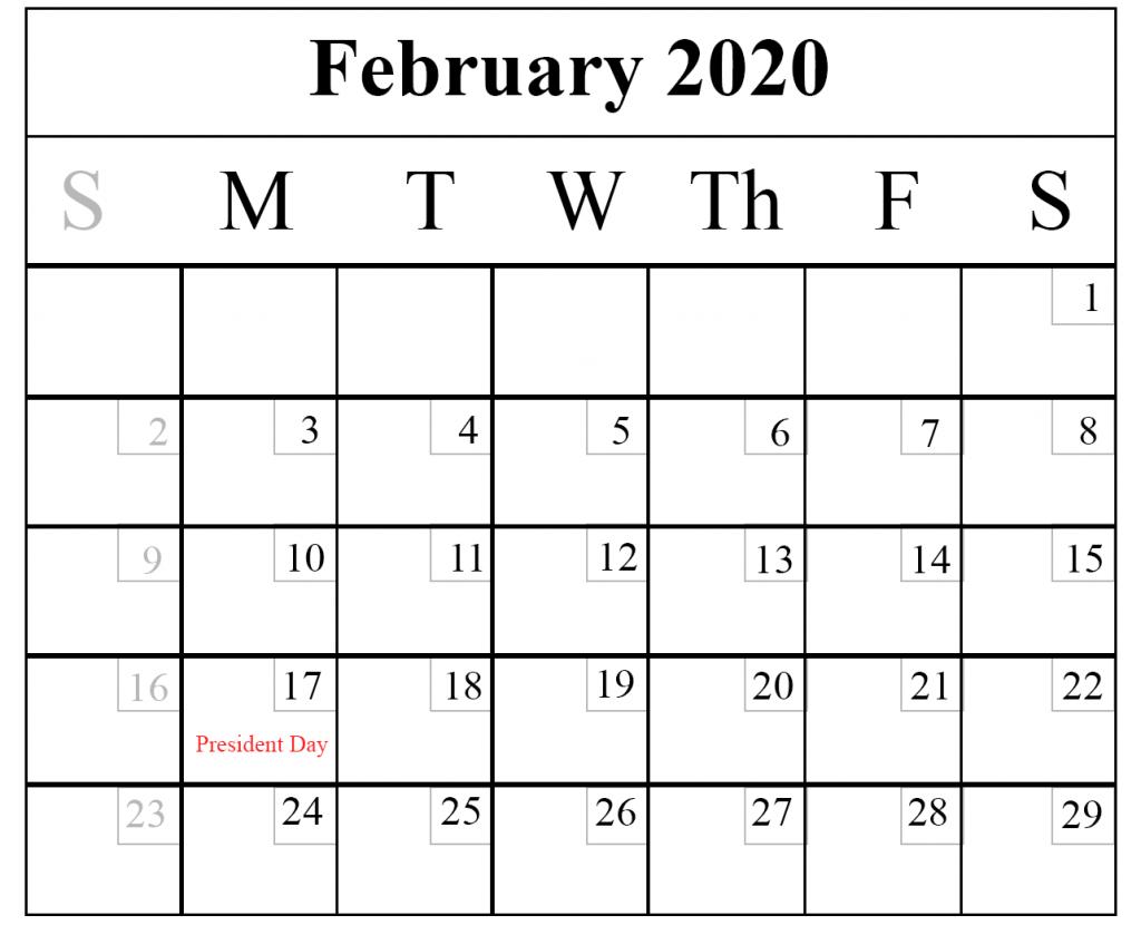 Blank February 2020 Calendar Printable Template