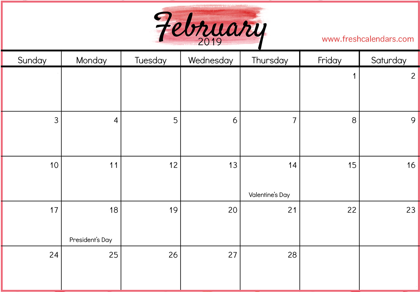 Julian Calendar February 2019 Editable February 2019 Calendar Printable Template Blank PDF Notes