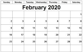 Editable February 2020 Calendar Xls