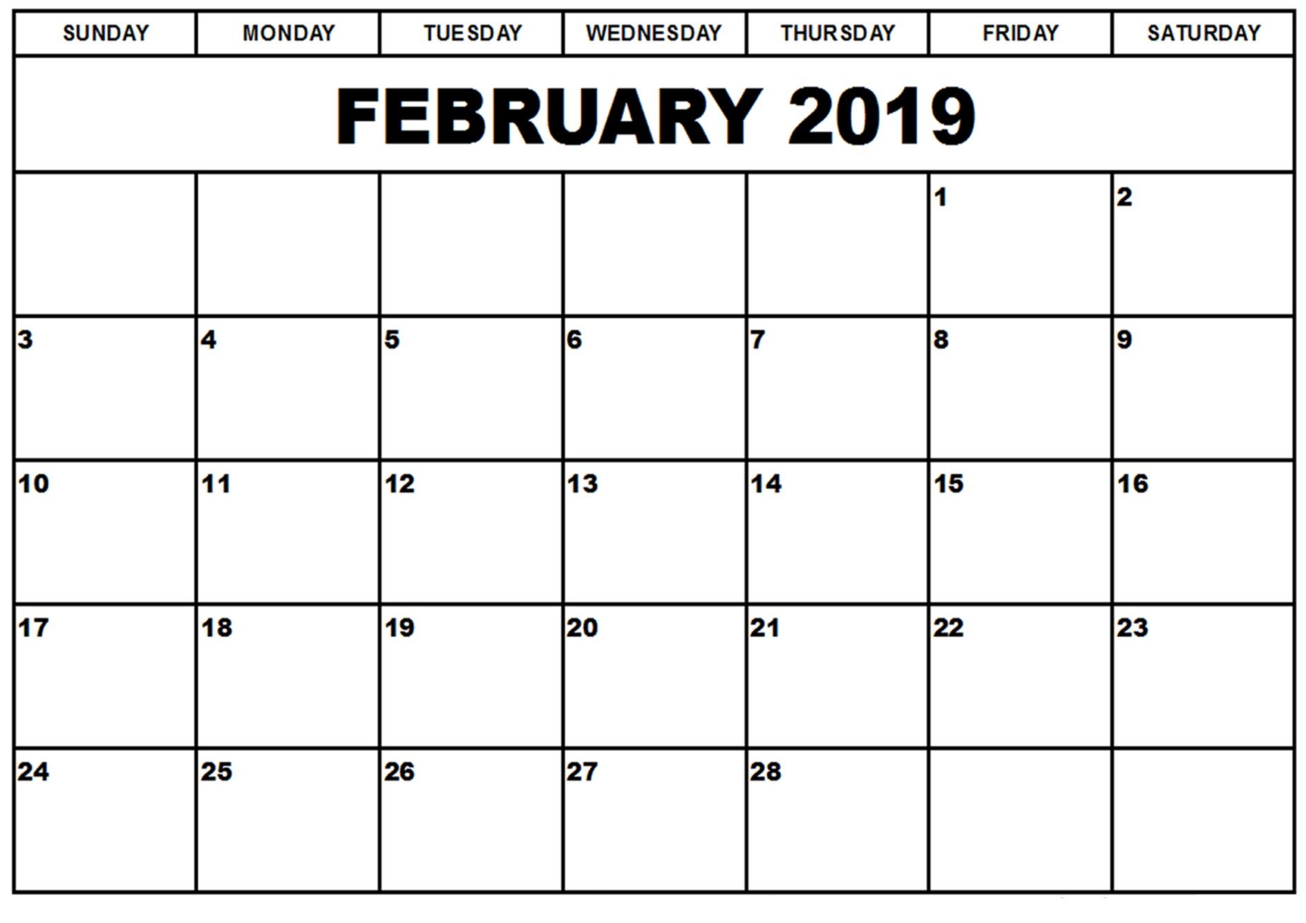 Feb 2019 Calendar A4