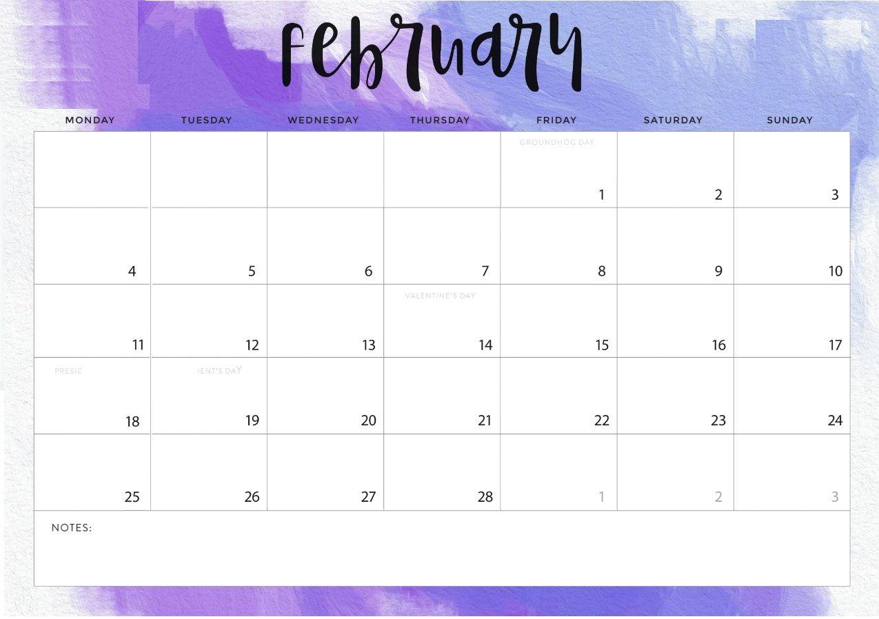 Feb 2019 Cute Calendar