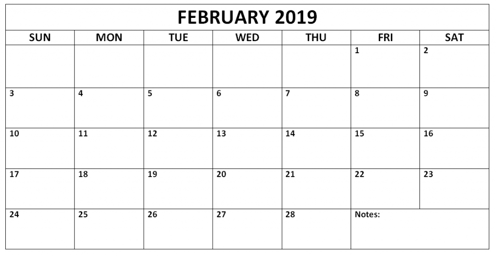 Feb 2019 Monthly Calendar