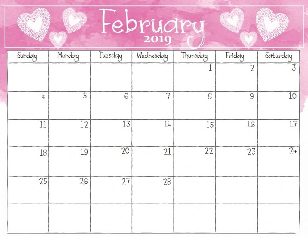 February 2019 Calendar Wallpaper Monthly Watercolor
