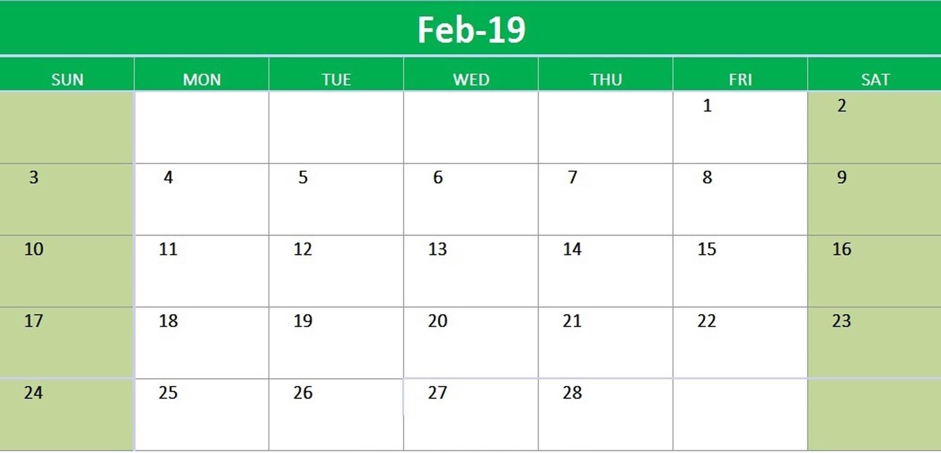 February 2019 Printable Calendar Landscape