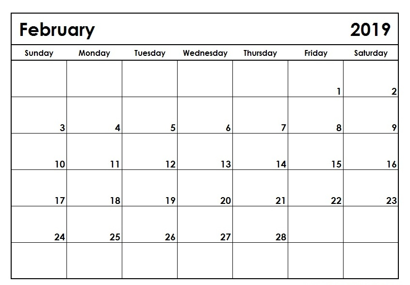 Wide Calendar February 2019 Editable February 2019 Calendar Printable Template Blank PDF Notes