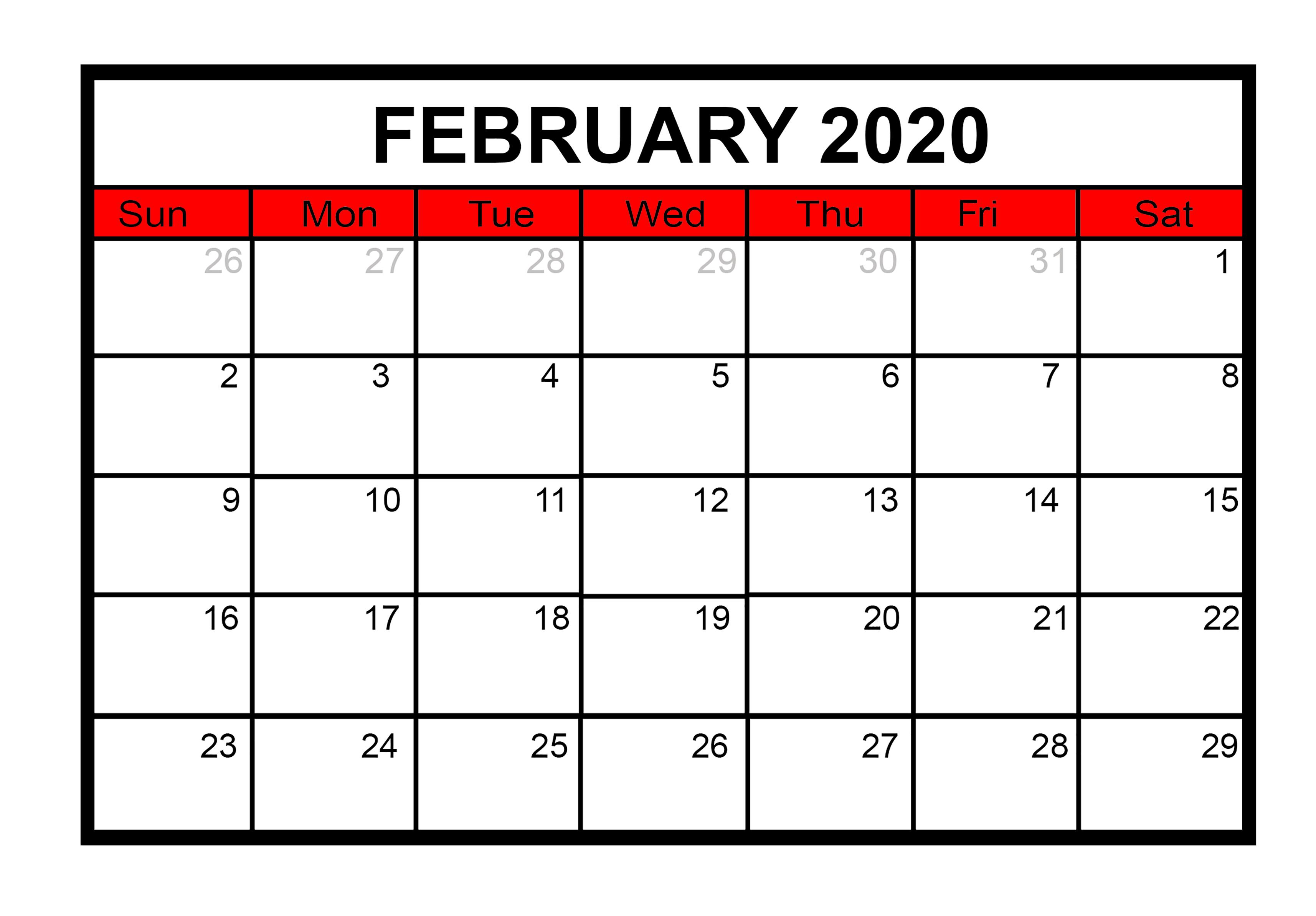 February 2020 Calendar Word