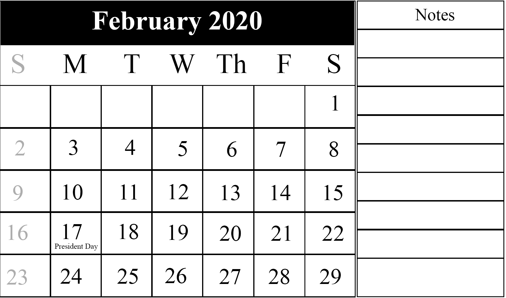 image about Printable Calendar Feb. known as Editable February 2020 Calendar Printable Template Blank PDF