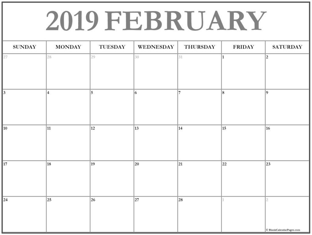 February Printable Calendar 2019