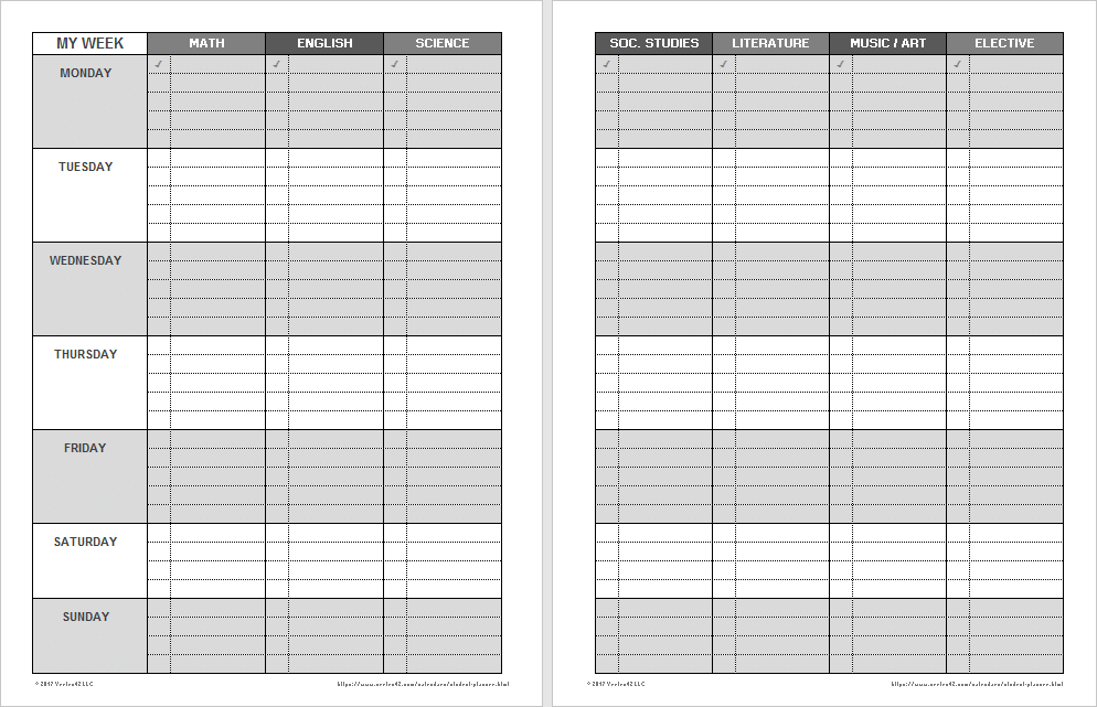 Printable Weekly Student Planners