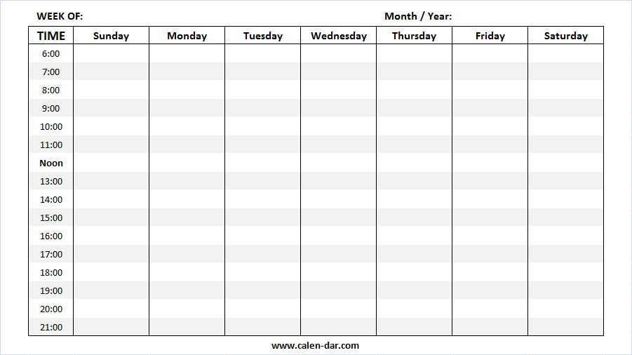 Weekly Calendar Template 2019