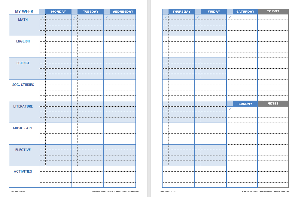 printable Student Planner 2019