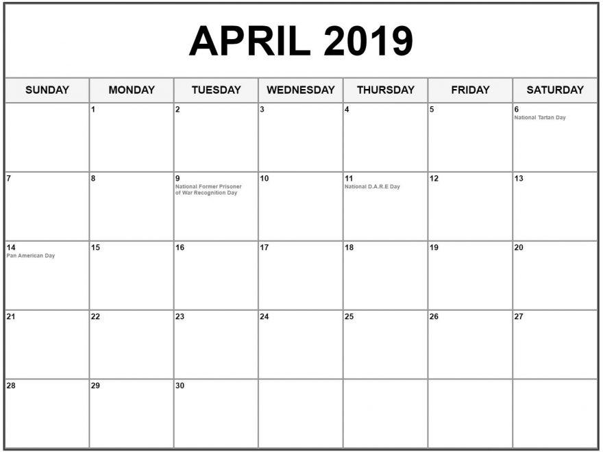 2019 April Calendar Printable