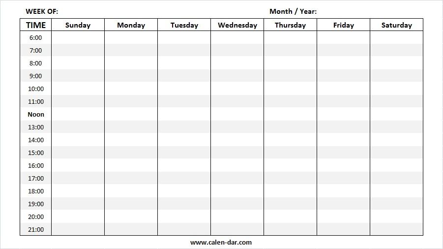 2019 Printable Weekly Calendar